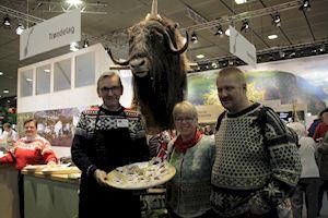 Muskox sausage at the International Green Festival. Photo from Norsk Landbruksrådgiving.