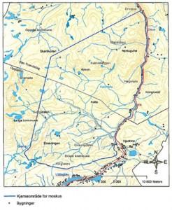 Musk ox core area as designated in the Forvaltningsplan for moskusstammen på Dovrefjell