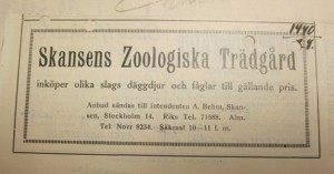 Advertisement asking for offers to sell mammals and birds