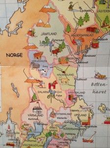 Part of the map of Sweden from Kartboken för alla barn (2012). A muskox appears at the fold of the two pages in Härjedalen.