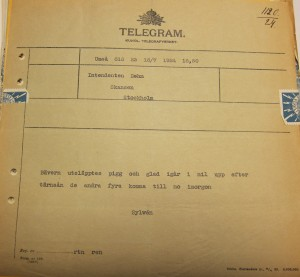 Telegram sent by Axel Sylvén to Alarik Behm to tell him about the release in July 1924 of a beaver that had overwintered in Skansen. Item in the Nordiska Museet archive.
