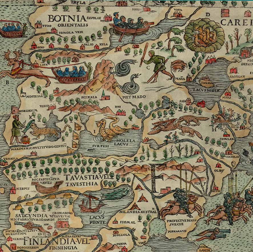 Close up of the beavers on Olaus Magnus' Carta Marina, 1539. Image from the James Bell Ford Library, University of Minnesota.