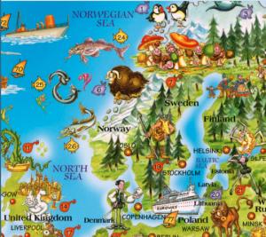 Closeup of Scandinavia on Dino's Children's Map of the World