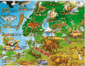 Dino's Animals of the World map section showing northern Europe