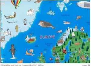 The Scandinavian section of Krüger & Schönhoff's Illustrated Map of the World