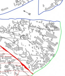 Close up of the section containing a beaver, located  near the top of the green line. Zoom in of Figure 225 from J. M. Gerde, Rock art and landscapes, PhD thesis, University of Tromsø (2010)