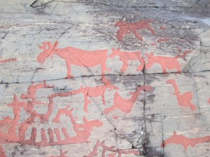 Some of the rock carvings at the Namforsen site in Näsåker, Sweden