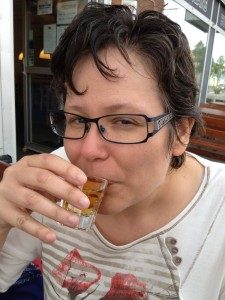 Drinking a shot of castoreum liquor in Gällivare, Sweden.