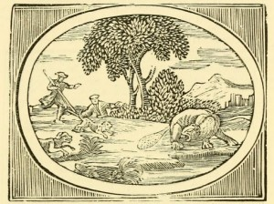 Illustration of the fable of the hunted beaver from S Croxall, Fables of Aesop and Others (1863)