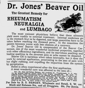Advertisement for Dr. Jones' Beaver Oil, The Daily Eagle, Reading, PA, 28 January 1908.
