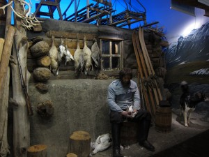 Reconstruction of a seal trappers hut on East Greenland in the Polar Museum, Tromsø, Norway. Photo by D Jørgensen.