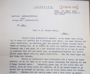 Part of the correspondence between P.M. Jensen Tveit and the Latvian General Counsel in Oslo in 1939 about relocating the beavers in Latvia. From National Archives of Norway, Archive folder RA/S-6087/D/Da/Dab/L0090.