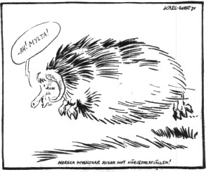 "Cartoon printed in Östersunds-Posten, 3 September 1971, shows a muskox exclaiming ""Yes! Cloudberries!"""