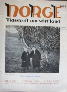 January 1930 issue of Norge. Tidsskrift om vårt land which included Adolf Hoel's article on the muskox transplantation