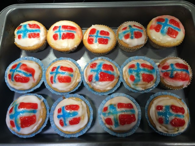 The patriotic cupcakes I made to celebrate May 17th.