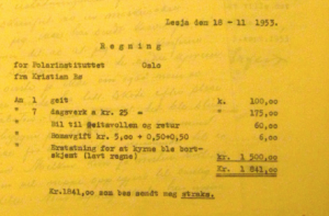 The list of expenses that Kristian Bø claimed should be compensated in his letter dated 18 November 1953. In the Norwegian Archives in Tromsø. Thanks to Peder Roberts for getting the copy for me.
