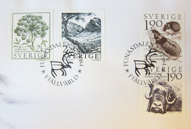 First day issue of the Swedish Fjällsvärld stamp series