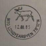 Example of the Longyearbyen post office cancellation mark featuring a Svalbard reindeer.