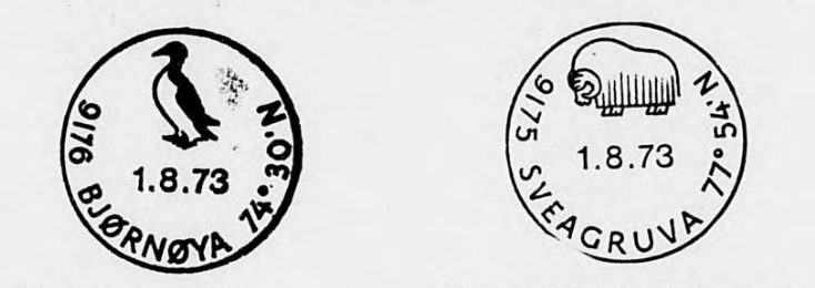 New cancellation stamps issued in 1973 for Svalbard's Bjørnøya and Sveagruva.