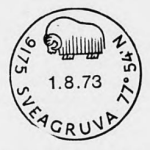 New postmark issued in 1973 for Svalbard's Sveagruva featuring a muskox