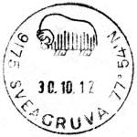 Sveagruva postmark dated 30 October 2012 on a collector's website (http://stamp-stuff.blogspot.se/2012/11/sveagruva-norway.html)