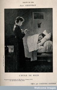 A sick child in bed has his castor oil medicine poured for him. France. Photomechanical print after J. Geoffroy, 1894. Credit: Wellcome Library, London. Wellcome Images http://wellcomeimages.org