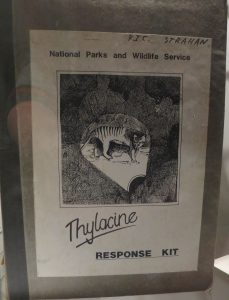 Thylacine Response Kit issued in 1983 to Tasmanian Parks and Wildlife offices to ensure proper collection of thylacine field evidence. In the Tasmanian Museum & Art Gallery. Photo by D Jørgensen, Feb 2016